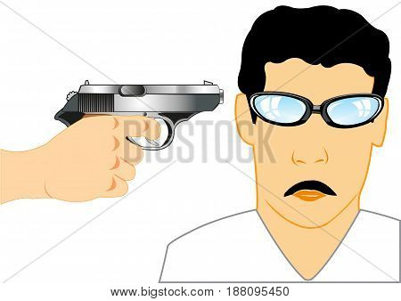 Gun in hand of the person directed in head