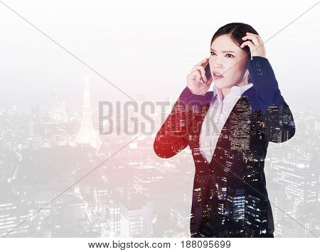 Double Exposure Of Worried Business Woman Talking On Smartphone With City Background