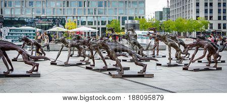 BERLIN - AUGUST 09 2016: Installation in front of the main railway station (Hauptbahnhof) on Washingtonplatz (Washington square) - The wolfes are back?