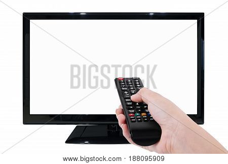 Hand Holding Tv Remote With Led Tv And Blank Screen Isolated On White Background