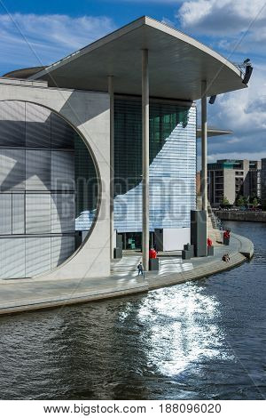 BERLIN - AUGUST 09 2016: The complex of buildings in the government quarter (Regierungsviertel). Marie-Elisabeth-Lueders-Haus and Spree river.