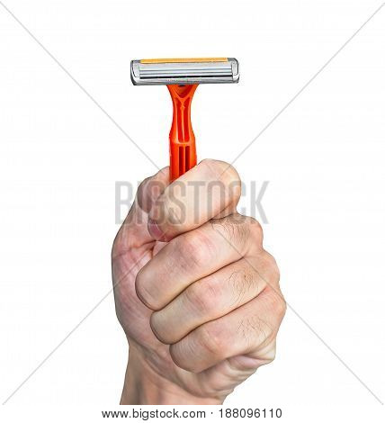 Disposable Razor Orange Color In A Human Hand