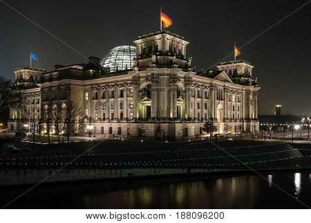 Reichstag building in the night illumination. Reichstag building - is German parliament (Bundestag). Germany