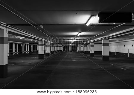 The modern indoor parking. Black and white.
