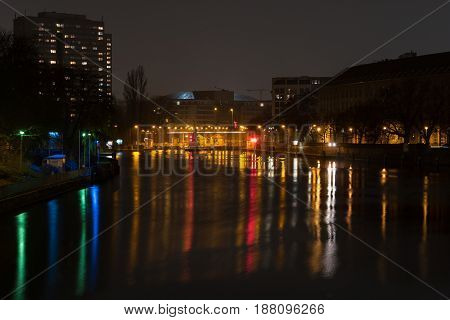 BERLIN - MARCH 05 2016: The Gateway to the River Spree. Berlin at night.