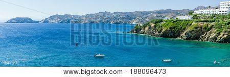 Gentle sea. Agia Pelagia. Crete. Panoramic view.