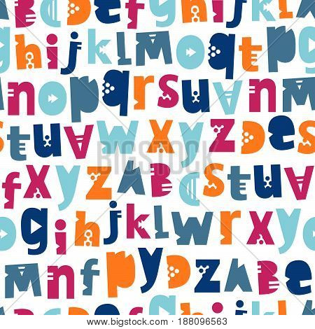 Seamless vector pattern of letters of the English alphabet. Colorful background for design. Wrapping paper. Lettering drawn by hand. Beautiful children's drawing.