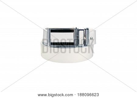 Rolled men's white leather belt with metal buckle isolated on white background