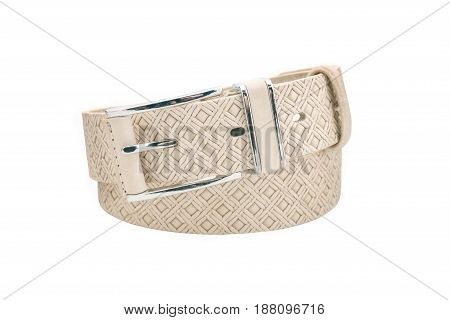 Rolled men's brown leather belt with metal buckle isolated on white background