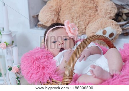 newborn baby girl in pink blanket lying in basket cute card composition new child announcement
