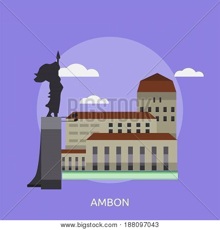 Ambon City of Indonesia Conceptual Design | Set of great flat design illustration concepts for city, indonesian, travel and much more.