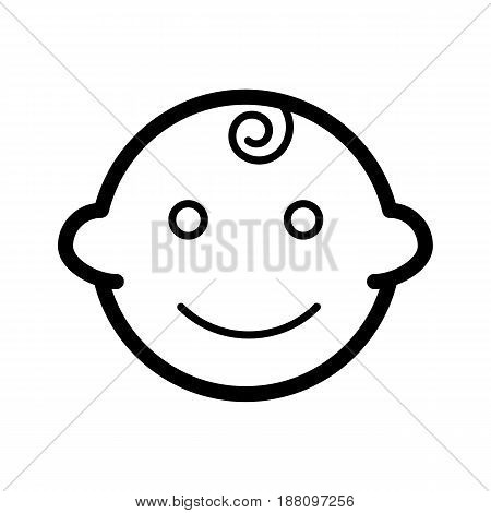Baby boy vector icon. Black and white little kid illustration. Outline linear smiling baby face icon. eps 10