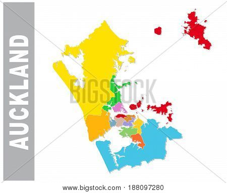 Colorful Auckland administrative and political vector map