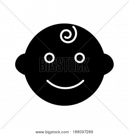 Baby boy vector icon. Black and white little kid illustration. Solid linear smiling baby face icon. eps 10