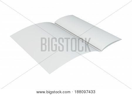 Blank folded brochure. 3d rendering on white background.