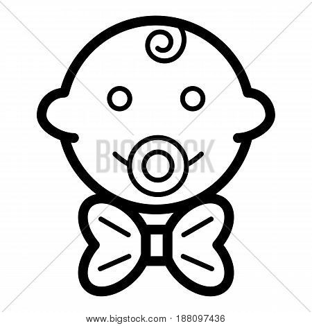 Baby boy vector icon. Black and white little gentleman illustration. Outline linear smiling baby face icon. eps 10