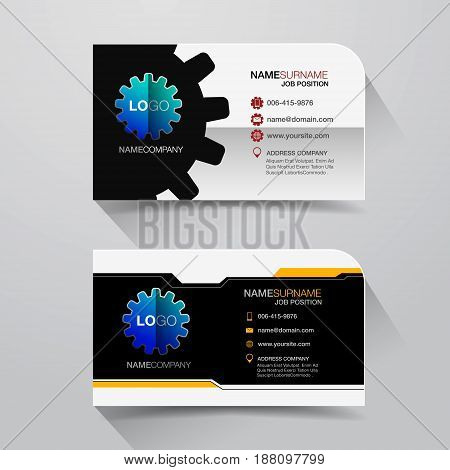 Business name card with Modern design background. Flat Design Vector Illustration. Stationery Design, Number one industry.