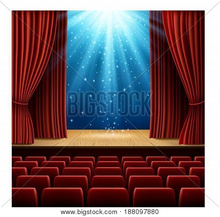 A theater stage with red curtain and red seats with magic light and stars. EPS 10 contains transparency.