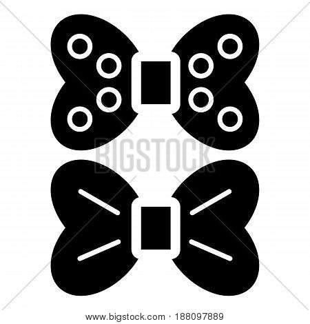 Two bows vector icon. Black and white bow illustration. Solid linear beauty icon. eps 10