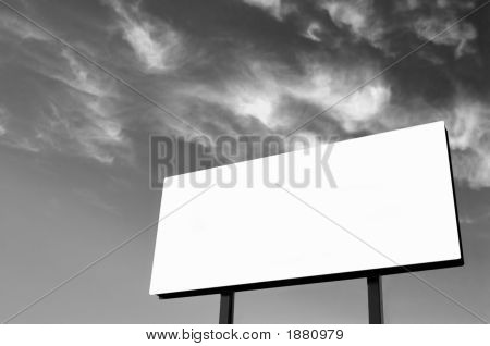 B&W - White Billboard With Wispy Sky - Sun On Left - Updated