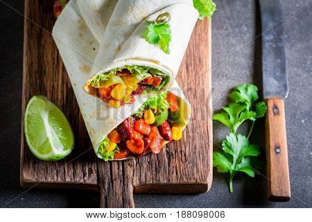 Spicy Burrito With Vegetables, Spicy Salsa And Lime
