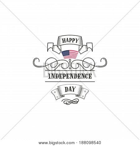Badge as part of the design - Fourth of July, United Stated independence day. Sticker, stamp, logo - hands made. With the use graphic of elements, calligraphy and lettering