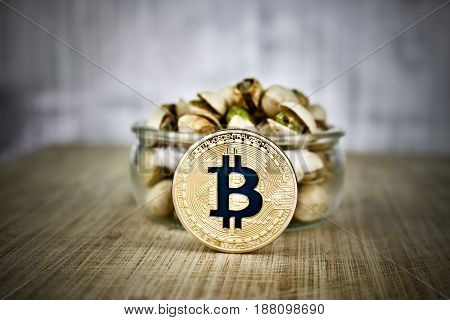 Gold Bitcoin Coin And Nuts