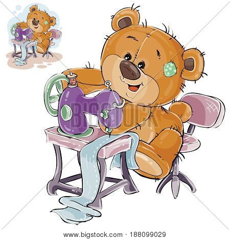 Vector illustration of a brown teddy bear tailor sews something on a sewing machine, needlework. Print, template, design element