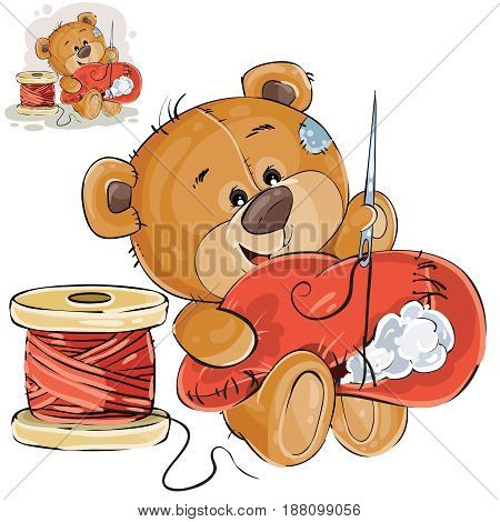 Vector illustration of a brown teddy bear tailor holding in his paw needle and thread and sewing something, needlework. Print, template, design element
