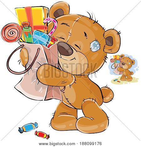 Vector illustration of a brown teddy bear sweet tooth embracing with its paws a cardboard package with sweets. Print, template, design element