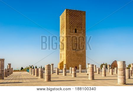 Hassan Tower near Mausoleum Mohammed V. in Rabat Morocco