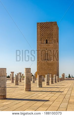 Hassan Tower near Mausoleum Mohammed V. in Rabat - Morocco