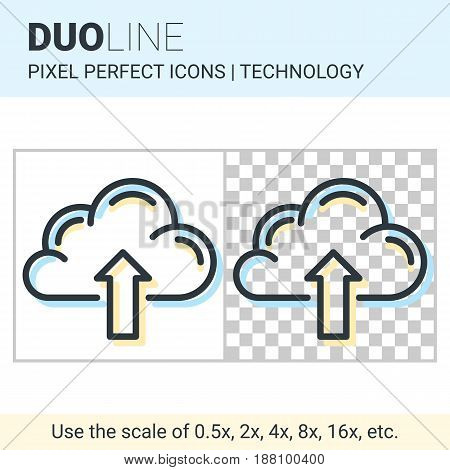 Pixel Perfect Duo Line Cloud Upload Icon On White And Transparent Background For Responsive Web Or P