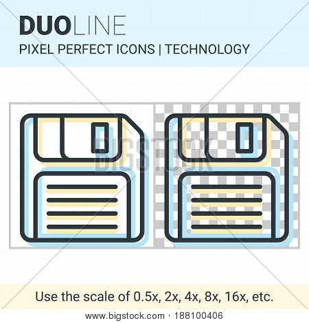 Pixel Perfect Duo Line Floppy Disk Icon On White And Transparent Background For Responsive Web Or Pr