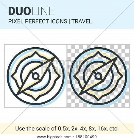 Pixel Perfect Duo Line Compass Icon On White And Transparent Background For Responsive Web Or Produc