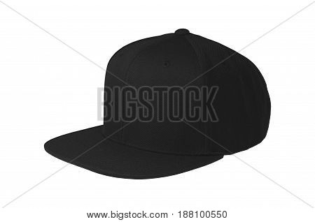 Blank flat snap back hat black isolated view on white background