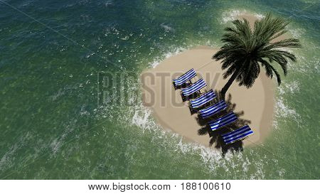 chairs under an umbrella at the beach by sunny day and palm trees - 3D render