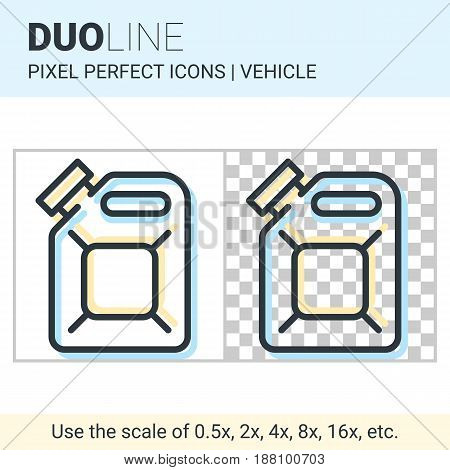 Pixel Perfect Duo Line Fuel Canister Icon On White And Transparent Background For Responsive Web Or
