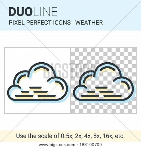 Pixel Perfect Duo Line Cloud Icon On White And Transparent Background For Responsive Web Or Product