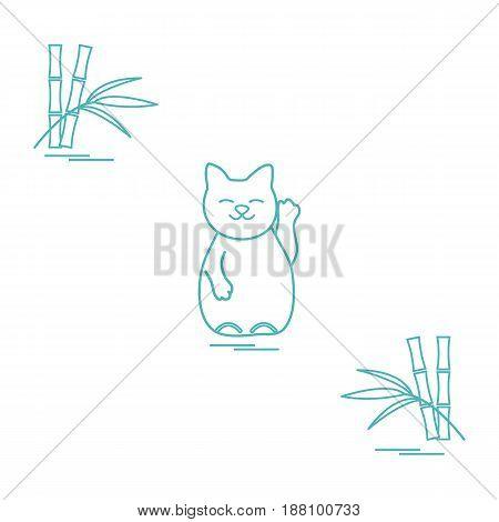 Stylized Icon Of Japanese Lucky Cat Maneki Neko.
