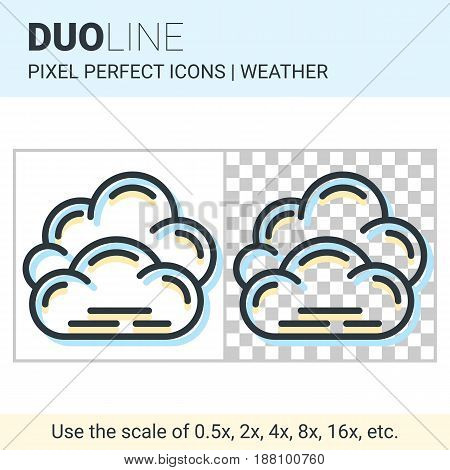 Pixel Perfect Duo Line Overcast Icon On White And Transparent Background For Responsive Web Or Produ