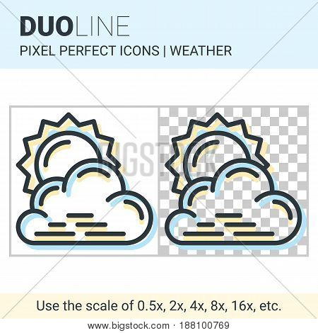 Pixel Perfect Duo Line Partly Cloudy Icon On White And Transparent Background For Responsive Web Or