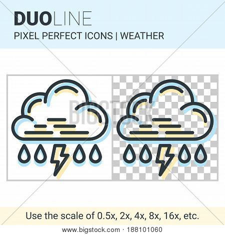 Pixel Perfect Duo Line Rain With Thunderstorm Icon On White And Transparent Background For Responsiv