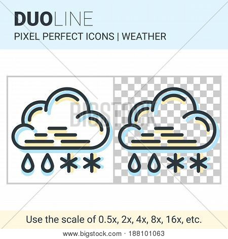 Pixel Perfect Duo Line Sleet Icon On White And Transparent Background For Responsive Web Or Product