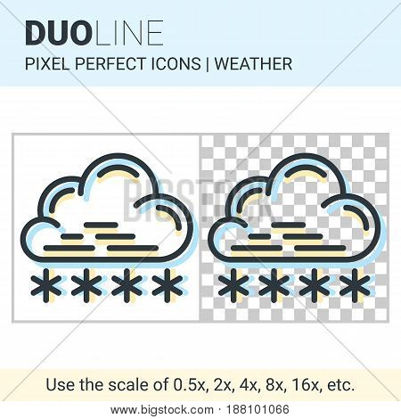 Pixel Perfect Duo Line Snowfall Icon On White And Transparent Background For Responsive Web Or Produ