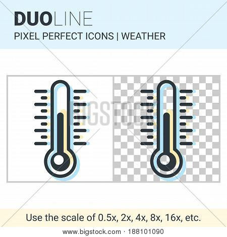 Pixel Perfect Duo Line Thermometer Icon On White And Transparent Background For Responsive Web Or Pr