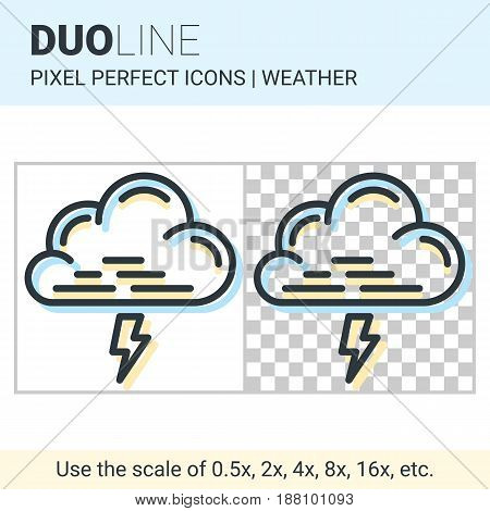 Pixel Perfect Duo Line Thunderstorm Icon On White And Transparent Background For Responsive Web Or P