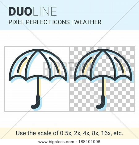Pixel Perfect Duo Line Umbrella Icon On White And Transparent Background For Responsive Web Or Produ
