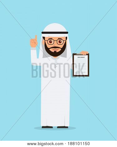 Arab businessman holding a clipboard with documents. Isolated Arab man offer deal in cartoon style. Vector illustration of a flat style