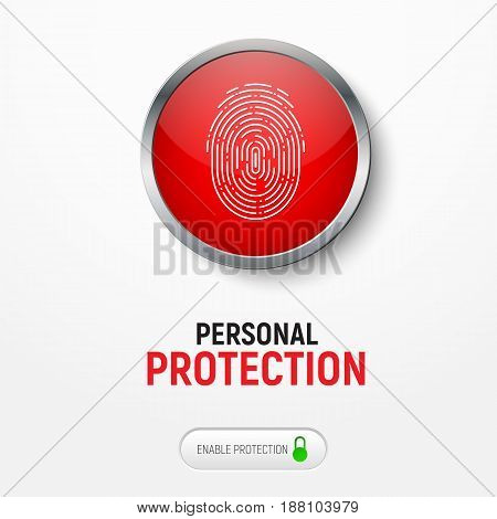Design Of A White Banner With A Red Button With A Fingerprint For Protecting Information.